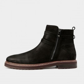 Herilios Comfy Touch Leather Ankle Black Boots (H5305G44)