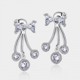 Caromay Cystral Knot Uneven Silver Earrings (E0652)