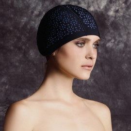 Balneaire Nude Underneath Flowers Black Swimming Cap (30054)