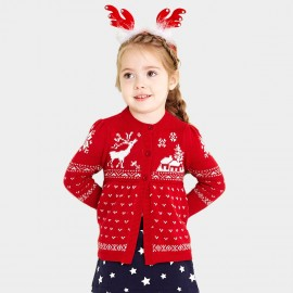 Pepevega Reindeer Graphic Red Cardigan (A54BF176)