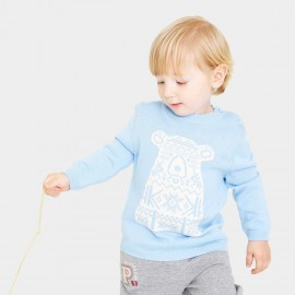 Pepevega Bear Graphic Blue Knit (A54BF179)