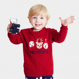 Pepevega Snowman Applique Red Knit (A54BF808)
