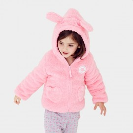 Pepevega Rabbit-ear Hooded Fleece Pink Jacket (A54ZM302)