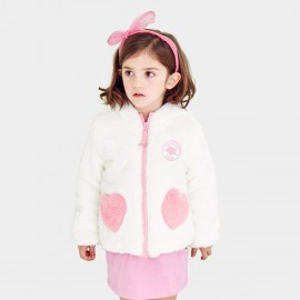 Pepevega Rabbit-ear Hooded Fleece White Jacket (A54ZM302)