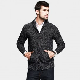 KUEGOU Button-Front Pocket Grey Knit (AZ-16850)