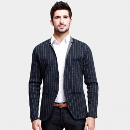 KUEGOU Striped Sport Navy Jacket (DZ-33024)
