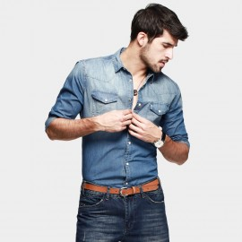 KUEGOU Handsome Denim Flap-Pocket Blue Shirt (FC-14572)