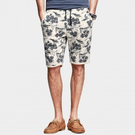 KUEGOU Palm Trees Drawstring Ash Shorts (FK-5607)