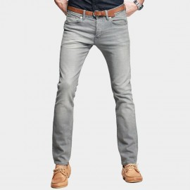 KUEGOU Modern Slim Washed Grey Jeans (KK-2337)