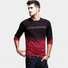 KUEGOU Chic Long-Sleeve Fading Red Tee (KPT-6311)