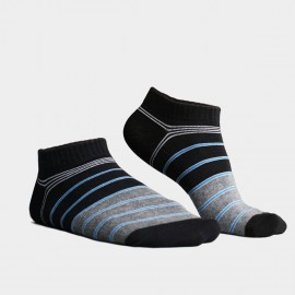 KUEGOU No Show Striped Black Socks (KS-01)