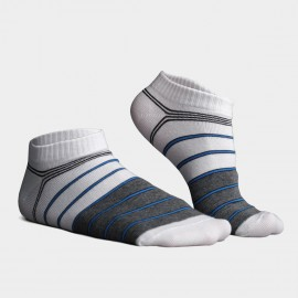 KUEGOU No Show Striped Grey Socks (KS-01)