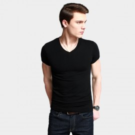 KUEGOU Stretchy V-Neck Black Tee (ST-602)