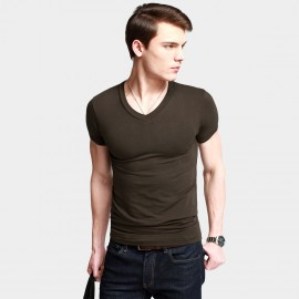 KUEGOU Stretchy V-Neck Coffee Tee (ST-602)
