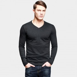 KUEGOU Stretchy V-Neck Charcoal Tee (ST-802)