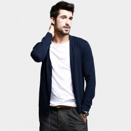 KUEGOU V-Neck Buttoned Navy Top (ZT-761)