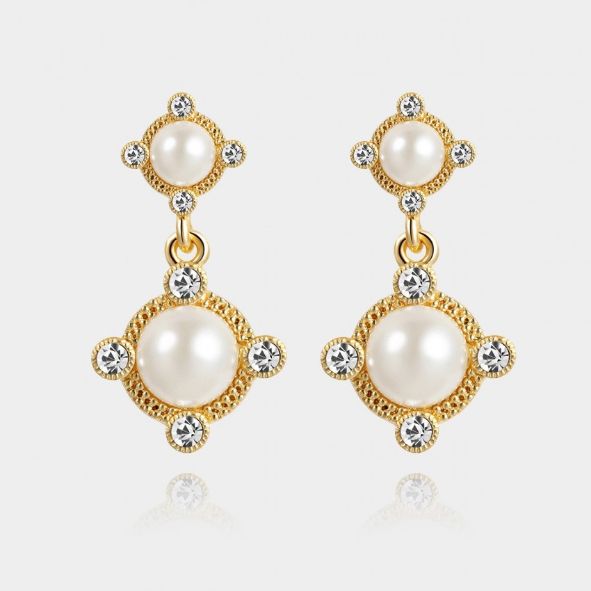 SEVENTY 6 Grace White Earrings (2402)