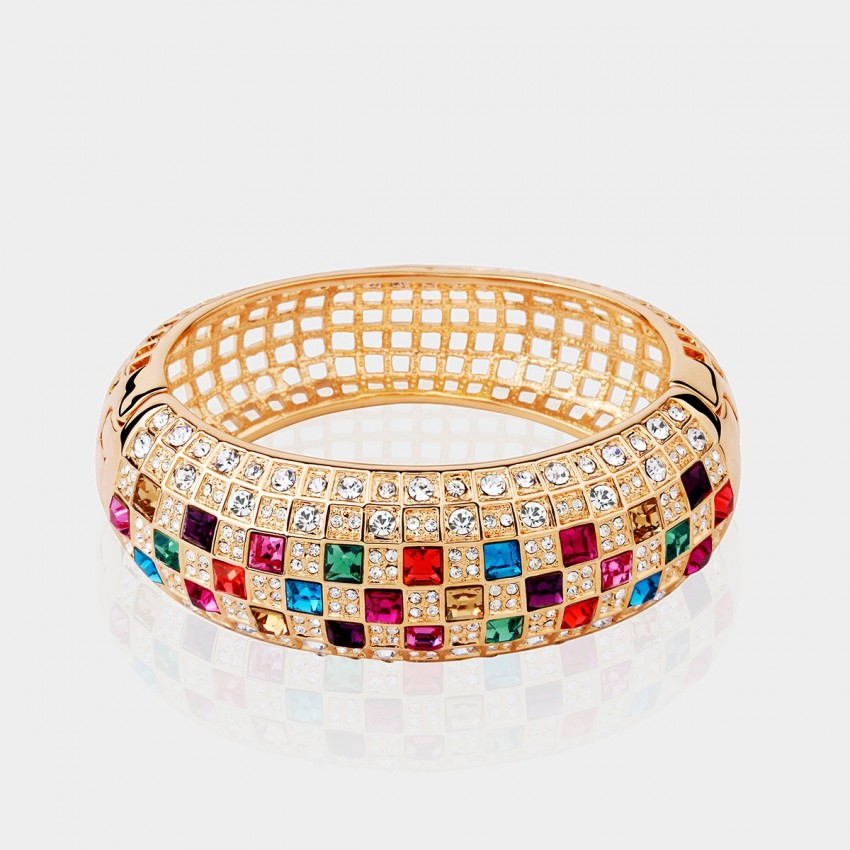 SEVENTY 6 Queen K Gold Rainbow Bracelet (3131)