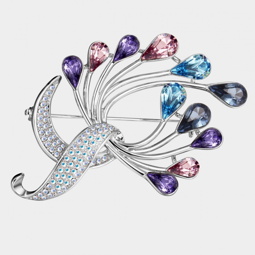 SEVENTY 6 Peacock Dance Rainbow Brooch (5663)