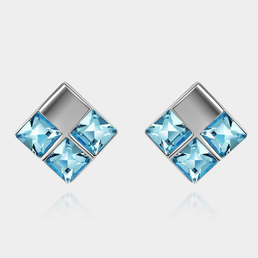 SEVENTY 6 Water Cube Ocean Blue Earrings (8266)