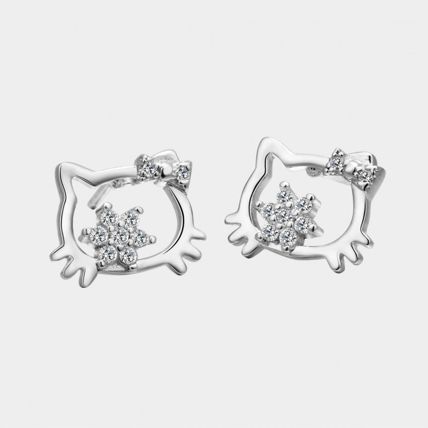 SEVENTY 6 Kitty Cat White Earrings (8312)