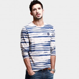 KUEGOU Long-Sleeve Mock-Zebra Stripes Blue Tee (PT-1324)