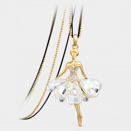 SEVENTY 6 Princess of Swan K Gold White Long Chain (7902)
