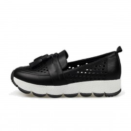 Jady Rose Slip-On Fringe Accent Leather Black Sneaker (16DR1-0014)