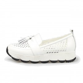 Jady Rose Slip-On Fringe Accent Leather White Sneaker (16DR1-0014)