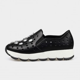 Jady Rose Faux Crystal Punch-Hole Leather Black Sneaker (16DR1-0016)