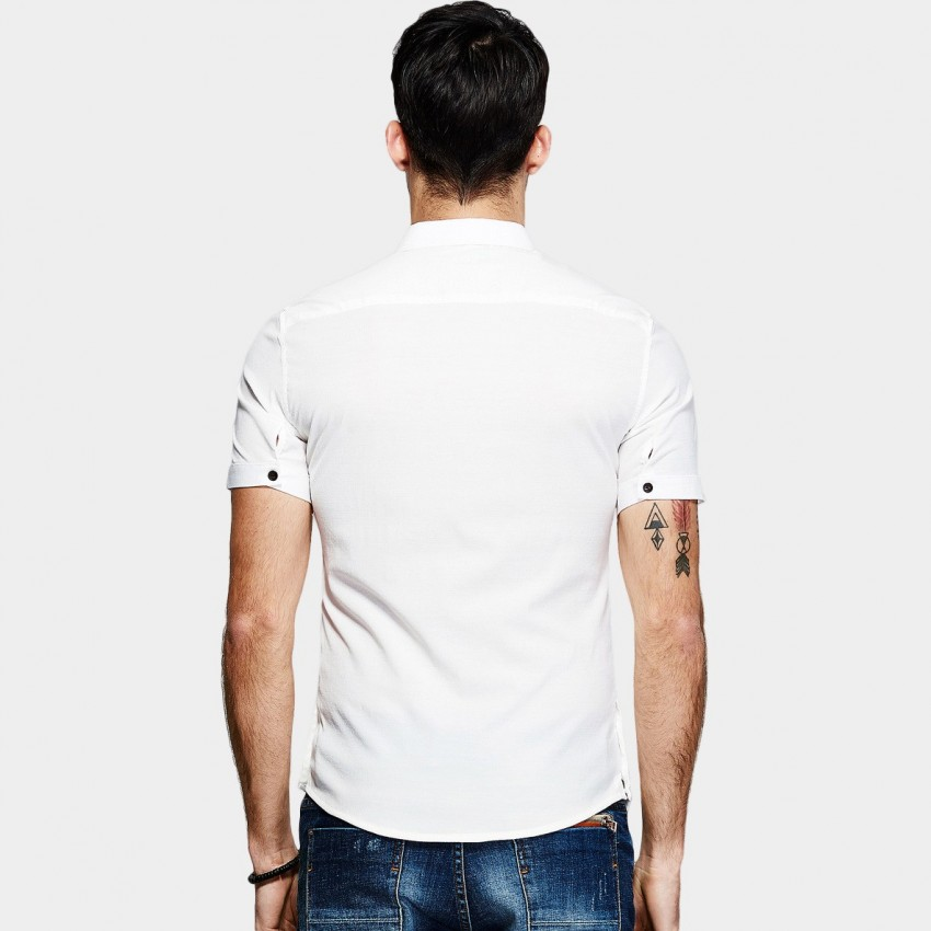 c917aa97a4f0 ... KUEGOU Skinny Fit Contrast Button White Shirt (XC-1813) ...