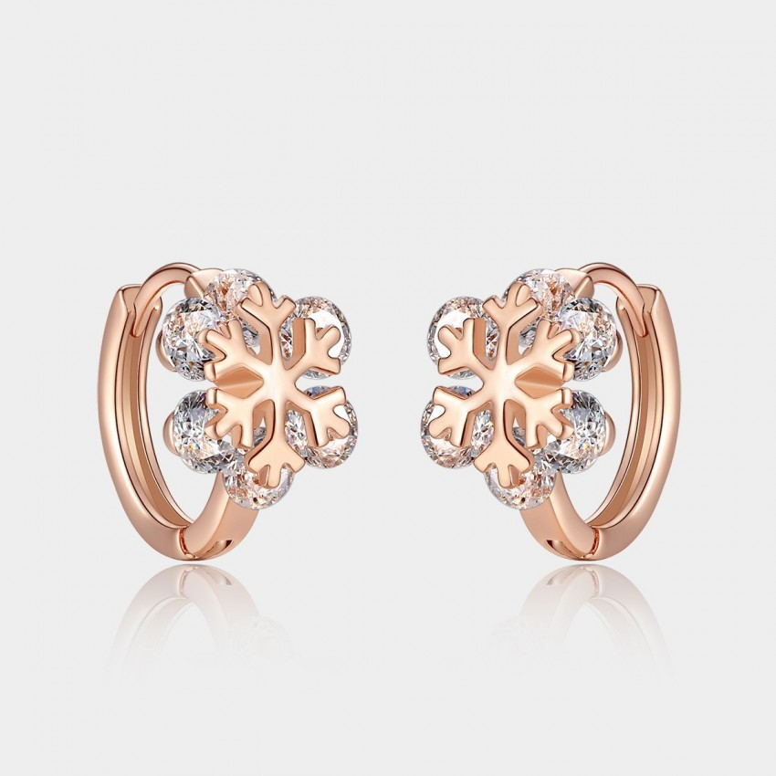Caromay Crystal Snowflake Rose Gold Earrings (E0814)
