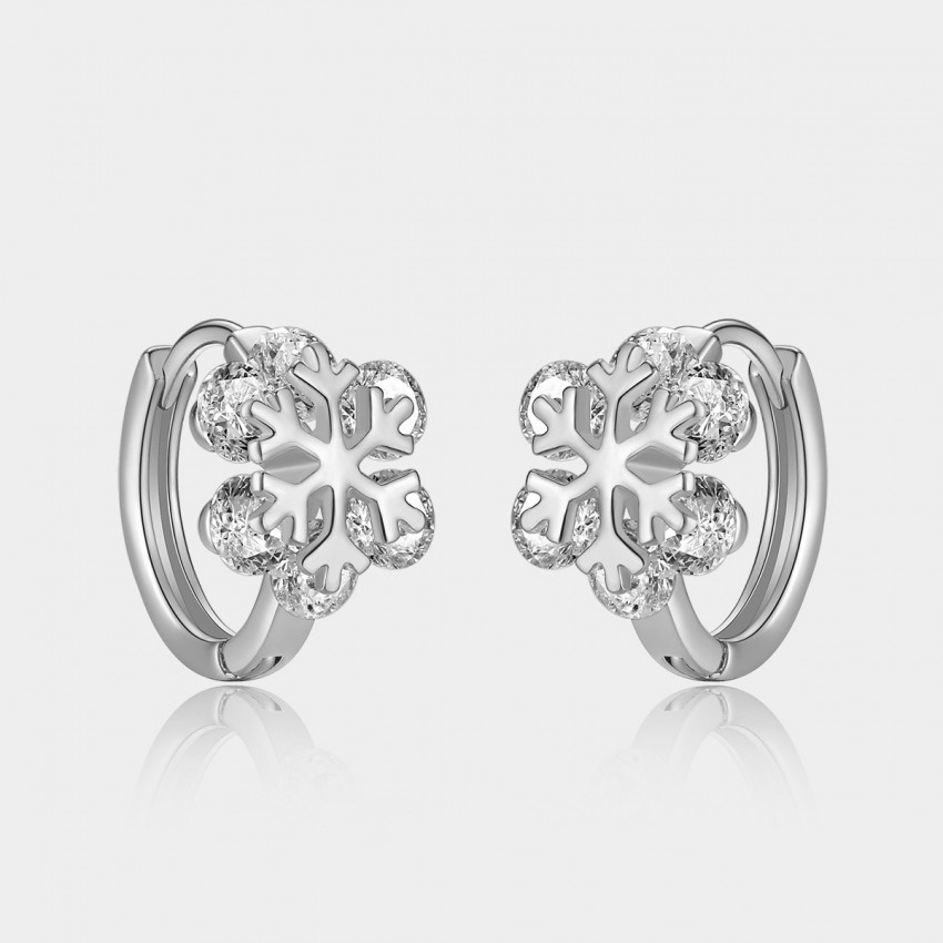 Caromay Crystal Snowflake Silver Earrings (E0814)