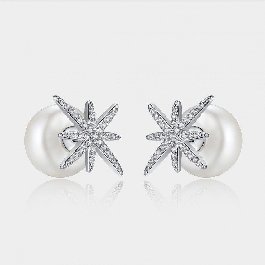 Caromay Crystal Starfish Silver Earrings (E0849)