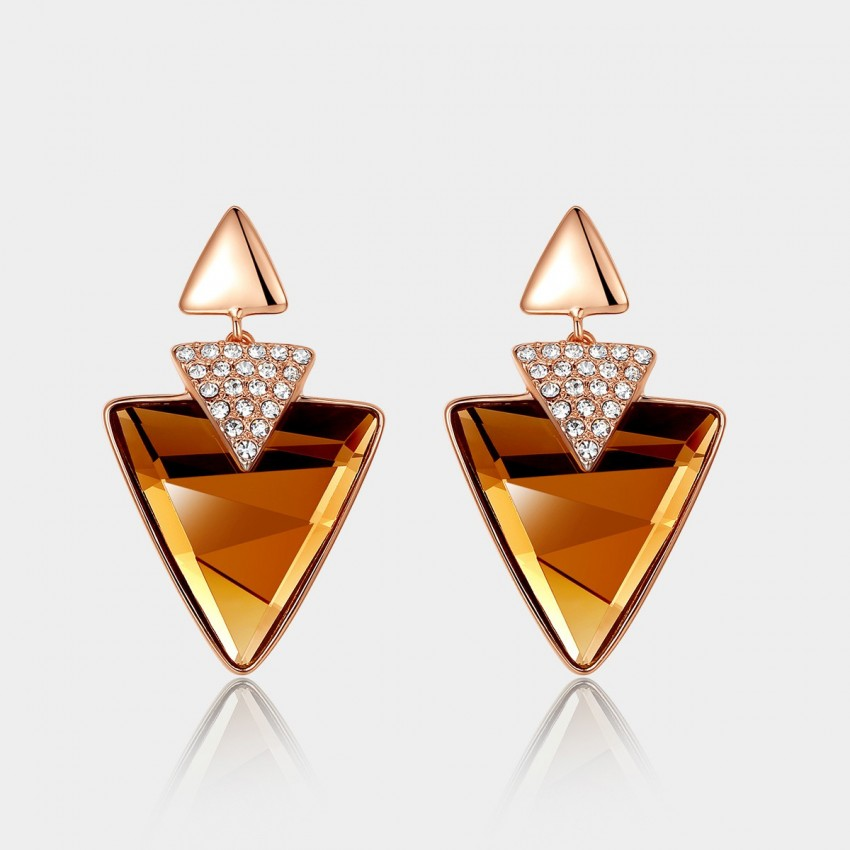 Caromay Triple Triangles Champagne Earrings (E0919)