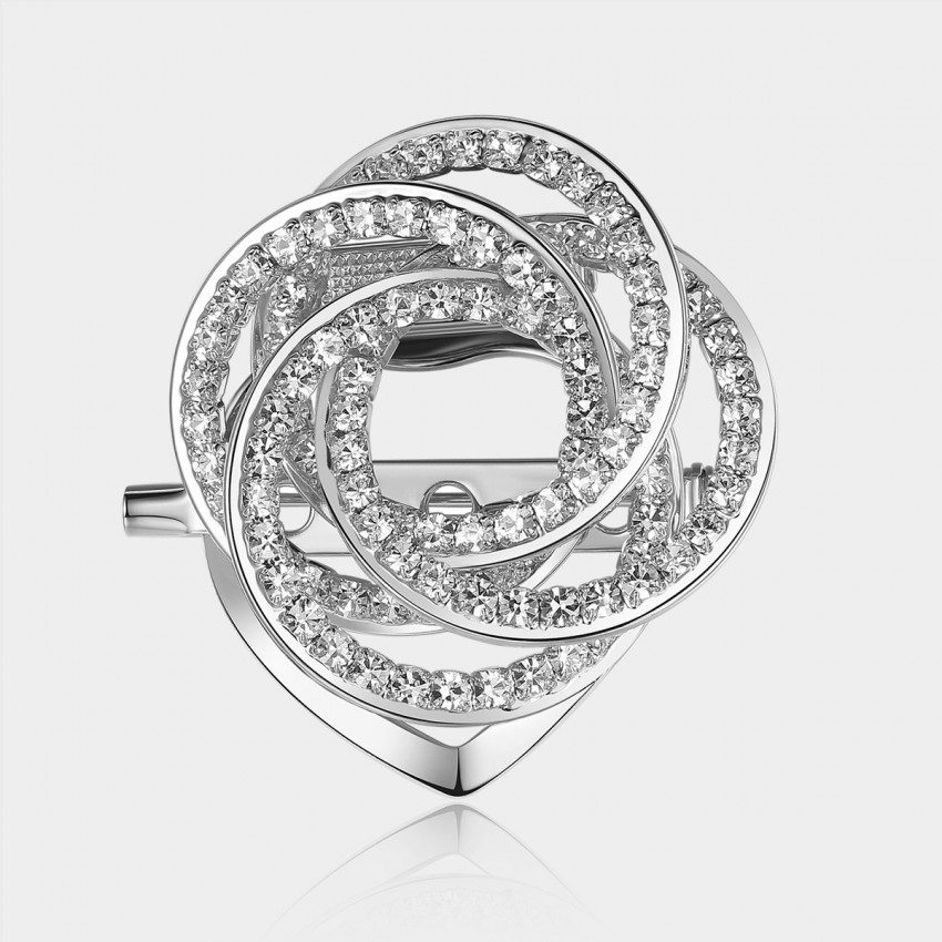 Caromay Crystal Camellia Silver Brooch (T0111)