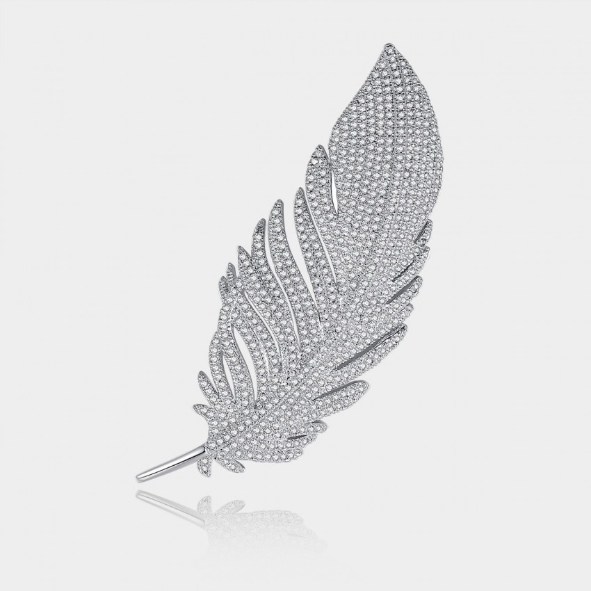 Caromay Feather From A Gentleman Silver Brooch (T0165)
