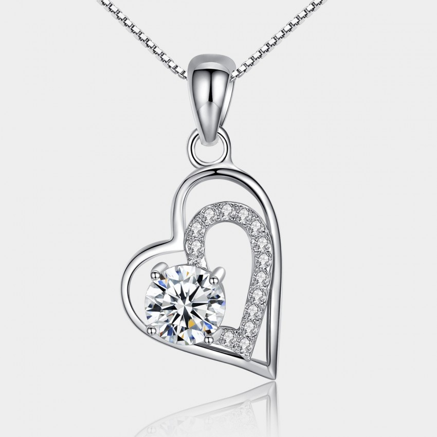 Caromay Double Hearts Silver Necklace (X0739)