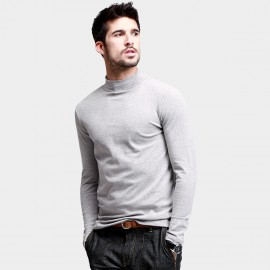 KUEGOU Stretchy Mock-Neck Grey Tee (ST-803)