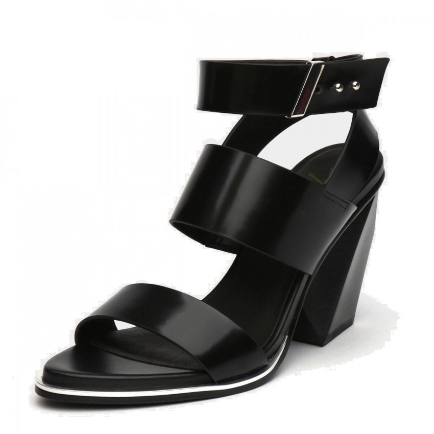 09288284ff43 ... Jady Rose Tri-Strap High Heel Leather Black Sandal (16DR1-0032) ...