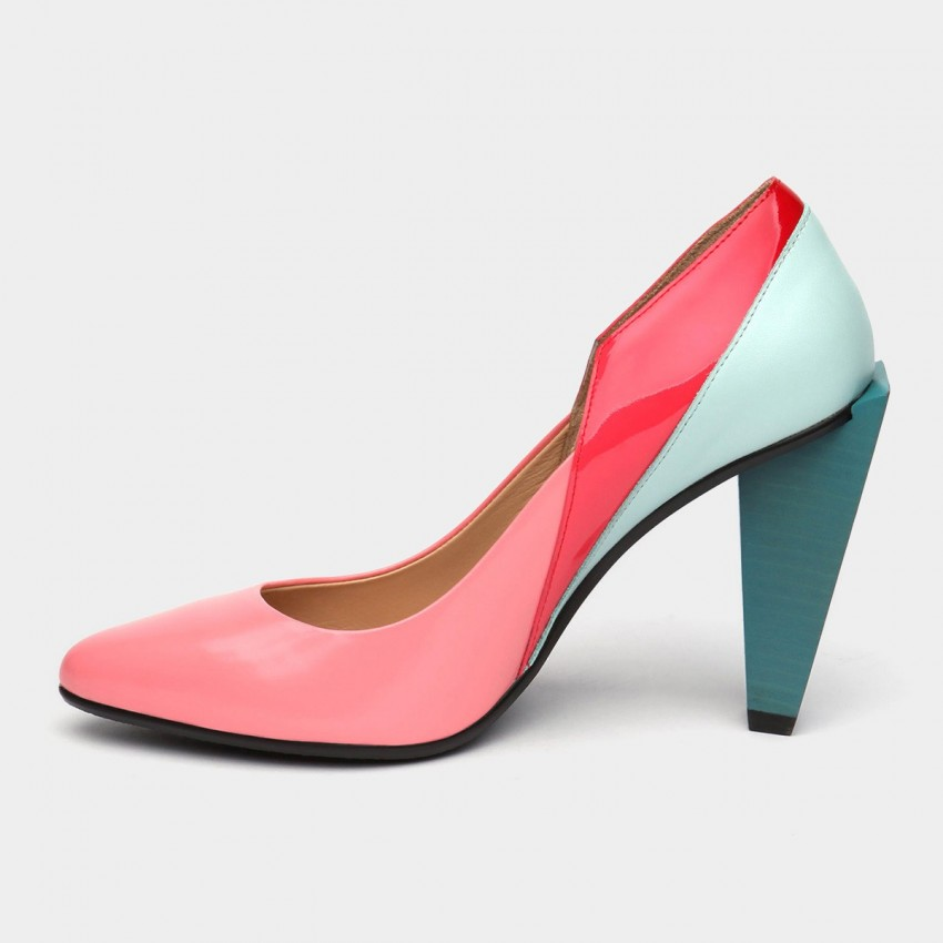 f58717500157 ... Jady Rose Colorblock Glossy Accent Leather Pink Pump (16DR1-0041) ...