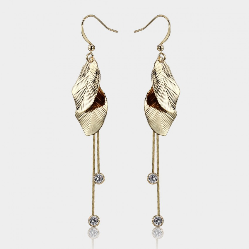 Caromay Feeling of Maple Leaf Champagne Gold Earrings (E0979)