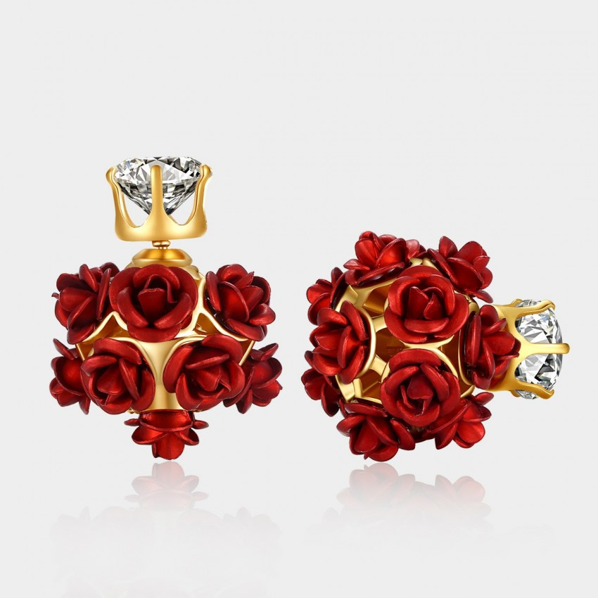 Caromay Rose Cluster Red Earrings (E1057)