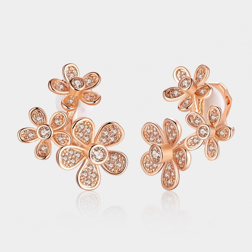 Caromay Interlock Champagne Gold Earrings (E1112)