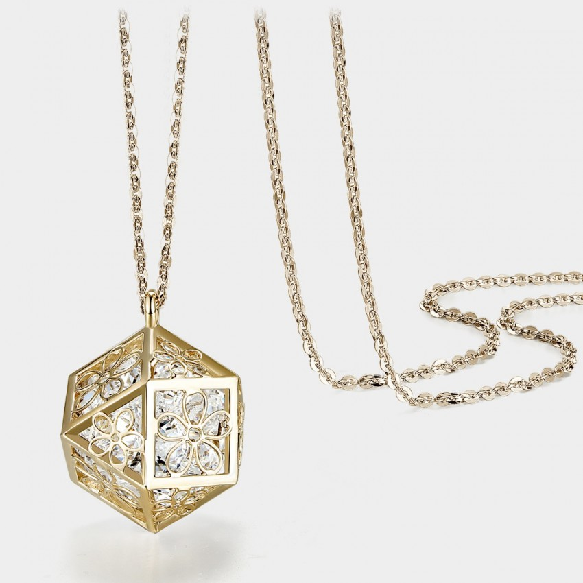 Caromay Hollow Magic Cube Gold Long Chain (X0592)