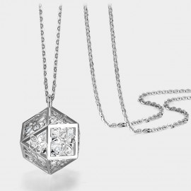 Caromay Hollow Magic Cube Silver Long Chain (X0592)