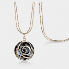 Caromay Water Ripple Champagne Gold Long Chain (X0694)