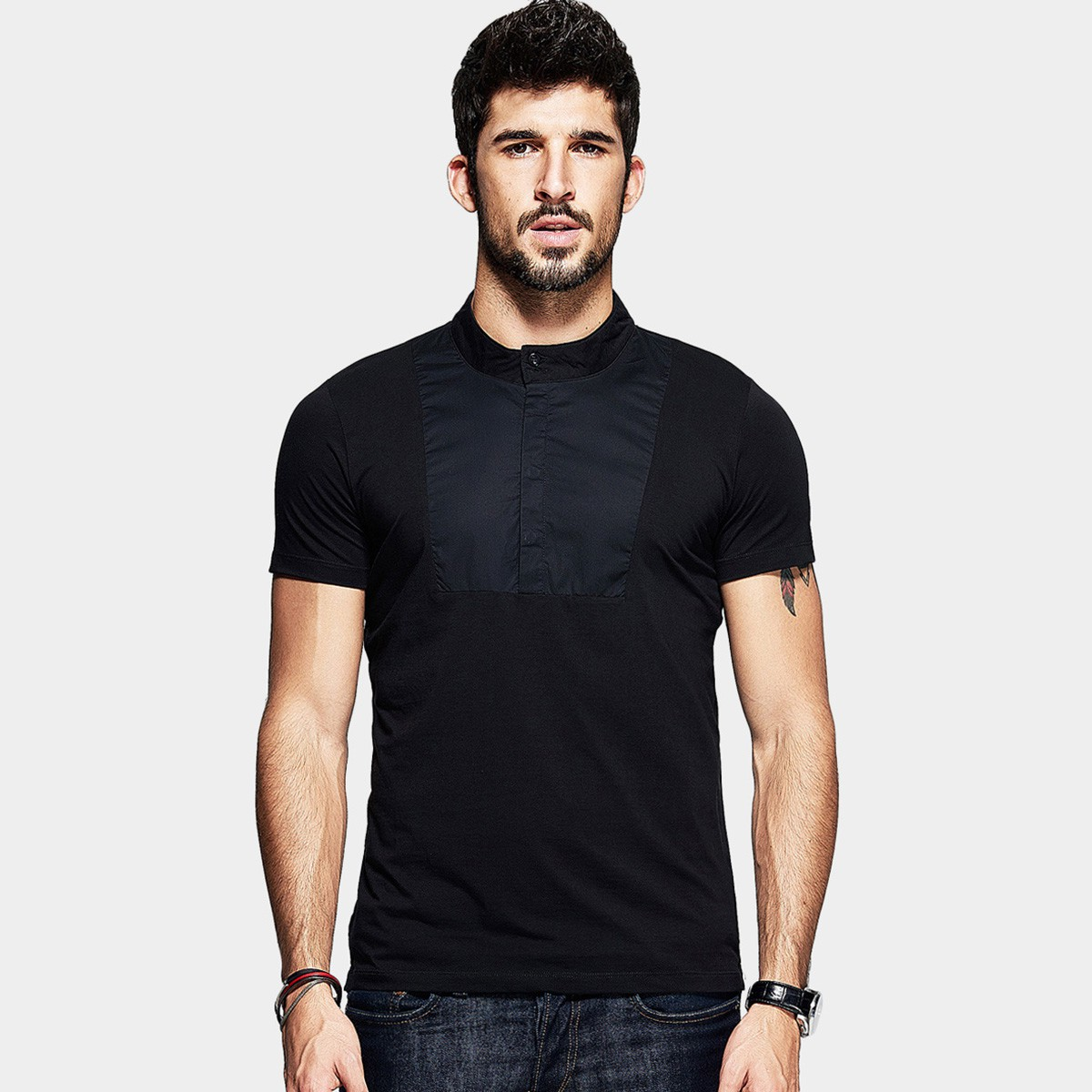 Kuegou Patchwork Tight Fit Crew Button Neck Black Tee Lt 1755 0cm