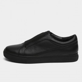 Jady Rose Mid Elastic Panel Leather Black Sneaker (16DR1-0043)