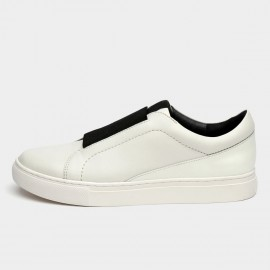 Jady Rose Mid Elastic Panel Leather White Sneaker (16DR1-0043)
